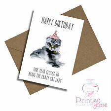 3D Lenticular Greeting Card Birthday Cat Hat On head /& candle Size 16x16 cm apro