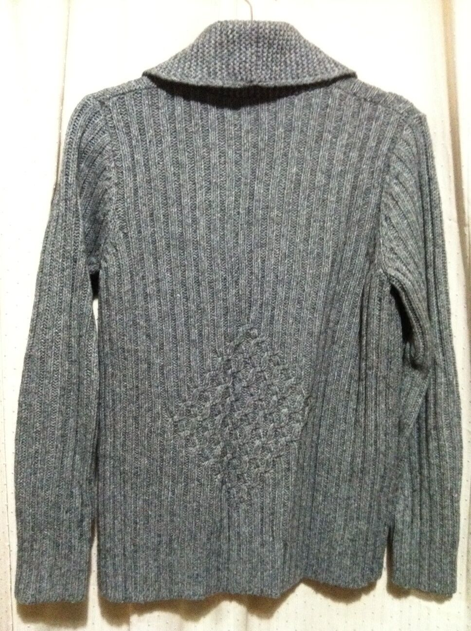 LANDS' END Grey Patterned Knit Collar Cardigan Sweater Top Top Top Womens' Size M 10 -12 19a027