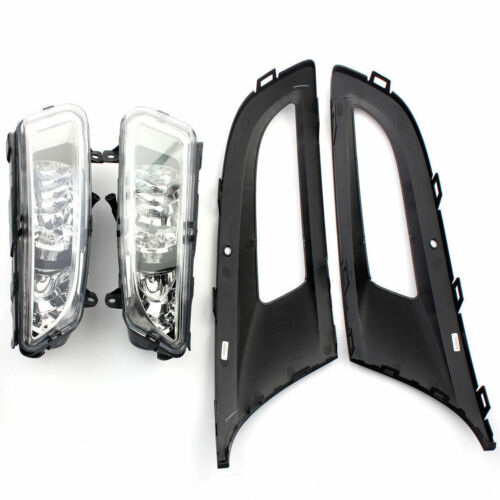 FRONT BUMPER FOG LIGHT GRILLES /& LAMPS SET L/&R FOR VW POLO 6R 10-14 BRAND NEW
