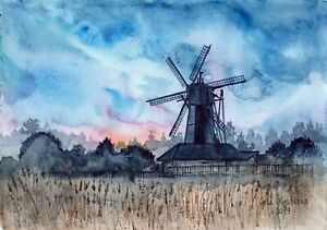 Landscape-With-A-Mill-original-watercolor-nature-painting-wind-field-grass-art