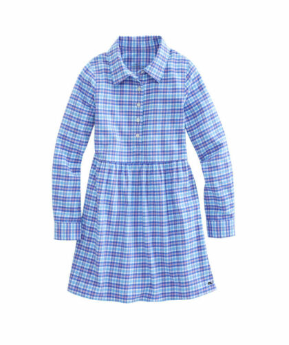 NWT Vineyard Vines Little Girls Morgan Way Flannel Dress  Ocean Breeze 2T,3T,4T