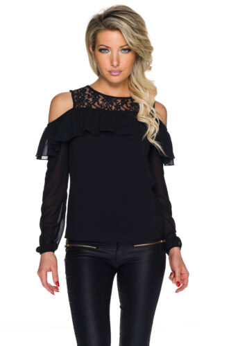 Tunika Bluse Rüschen Cut out Schulter Chiffon Shirt Top Party Büro S 34 36 38