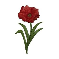 """Iron on Applique//Embroidered Patch Large 6/""""  Red Poppy//Poppies//Flowers Spring"""