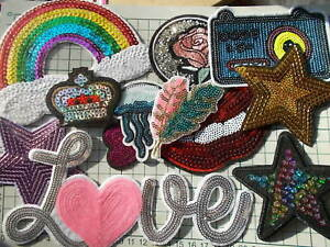 Novelty assorted design sequin sew iron on patch embroidered