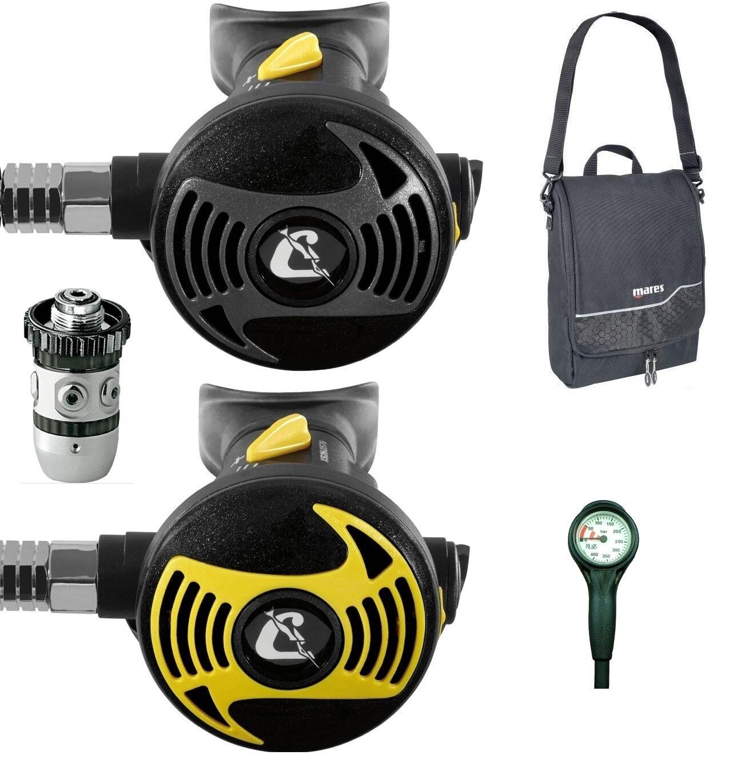 Cressi XS2 AC2 with Octopus XS with Pressure Gauge Inflator Hose Regulator Bag
