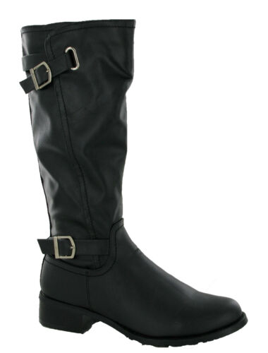 Femmes Gluv Bottes Fermeture Éclair Fashion Boucles Casual Comfort Soft Mollet Chaussures UK 4-8