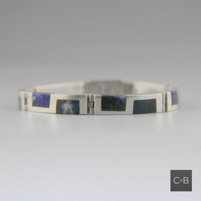 Vintage Mexican 80s Mexican Sodalite Sterling Silver Taxco Bracelet Inlay
