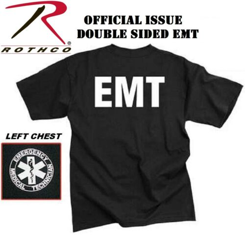 Black Official Issue Double Sided Medical EMT Star Of Life T-Shirt Rothco 6676