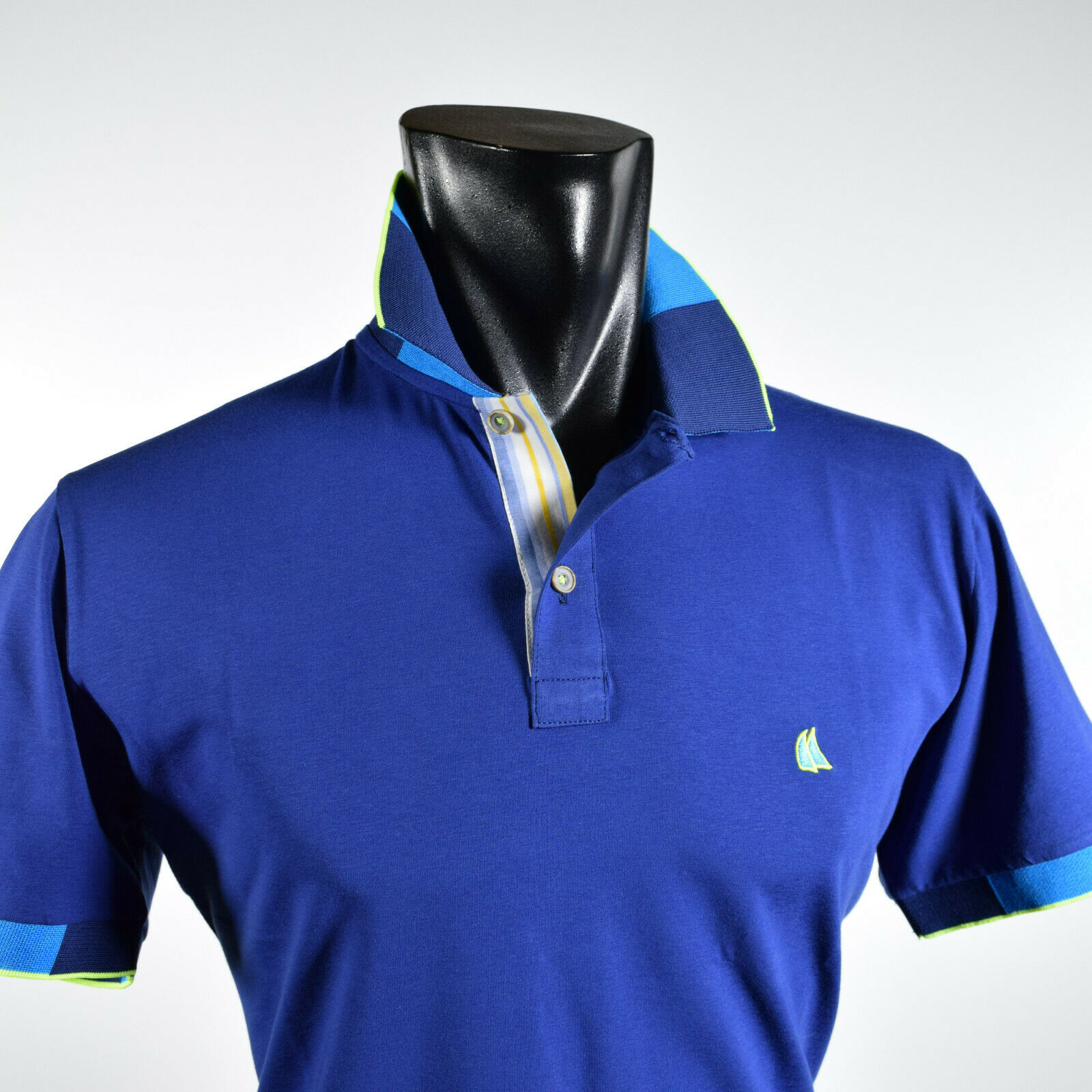 Sail Short Sleeve Polo T-Shirt Made in  Blau Cotton Stretch in three colours