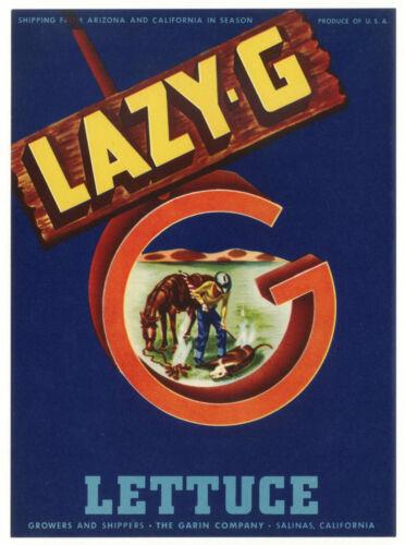 *Original* LAZY-G Cowboy Branding Iron Horse SALINAS CA Veg Label NOT A COPY!