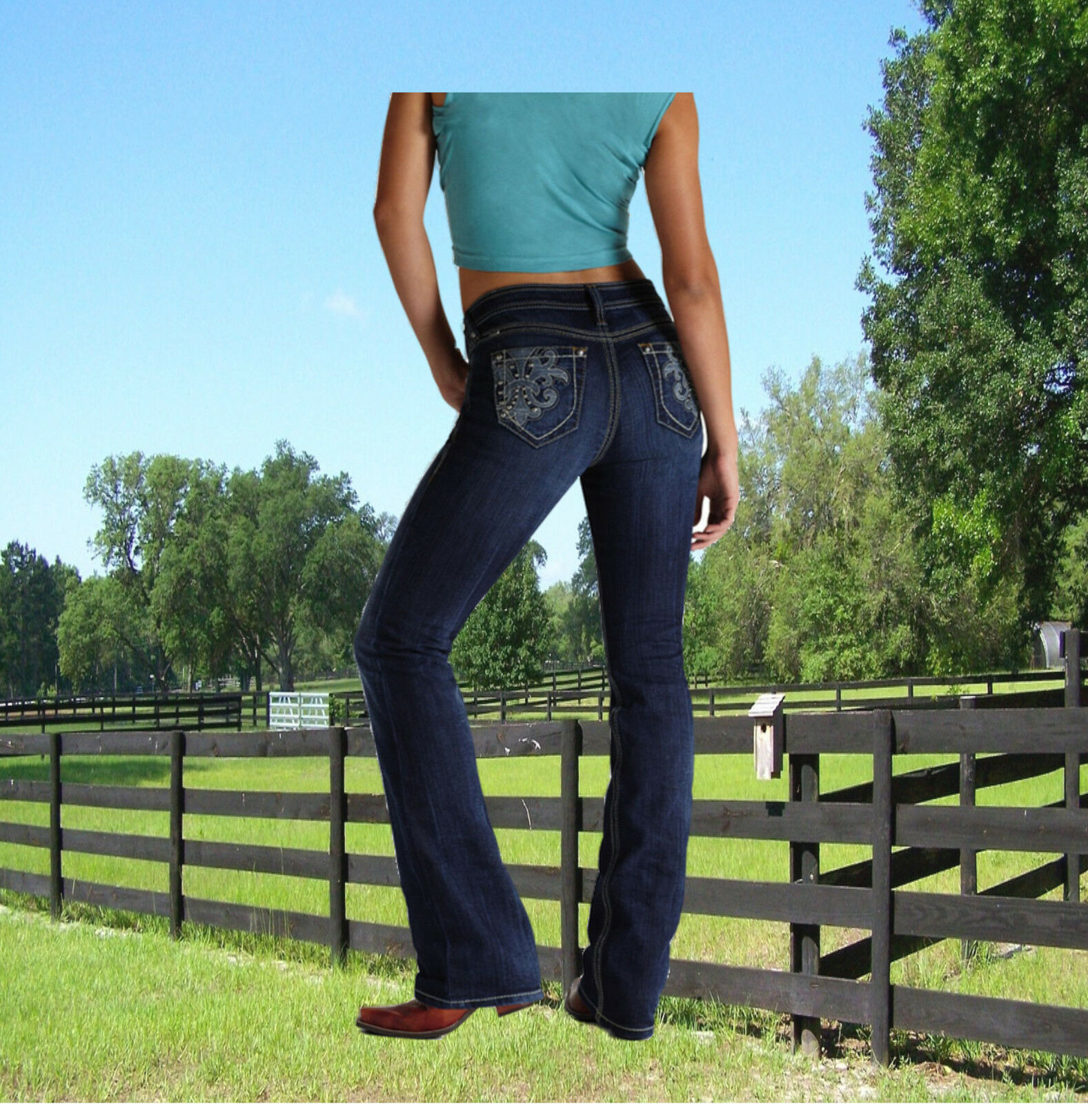 Ariat Jeans Damen Stiefel Cut Turquoise Midnight Ariat Modejeans Western