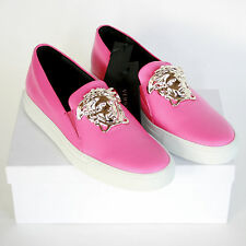 VERSACE pink leather slip on metal medusa head Palazzo sneakers shoes 40 /10 NEW