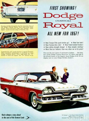 Dodge Royal 1957 Vintage Automobile Motor Advertisement Poster Art Print A4