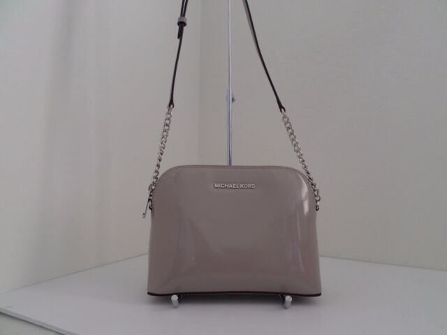 b04cd3f94c68 NWT AUTH MICHAEL KORS CINDY LARGE DOME PATENT LEATHER CROSSBODY-$168-DARK  CEMENT