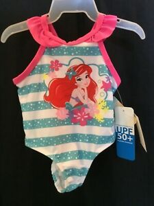 Disney Baby The Little Mermaid Ariel One 1 Piece Swimsuit Bathing Suit 3-6M New
