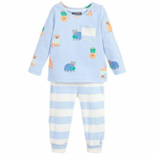 BNWT-Joules-Bébé garçon-babytoby-Bleu Imprimé Animal Pyjamas Âge 9//12M.