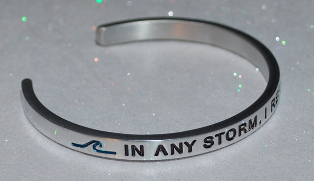 Hand Stamped Bangle Free P/&P I Refuse to Sink Bracelet Gift Boxed