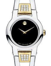 Movado 18 diamonds Black Dial Amorosa # 604983 Ladies Watch Retail $1195