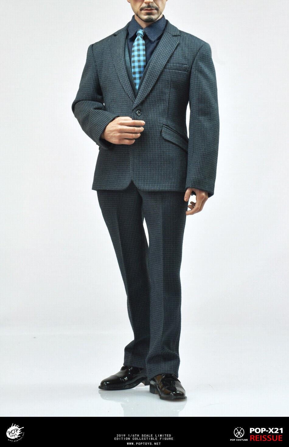 POPTOYS X21 1 6 Tony Stark Business Suit Male Clothes Model F 12'' Action Figure