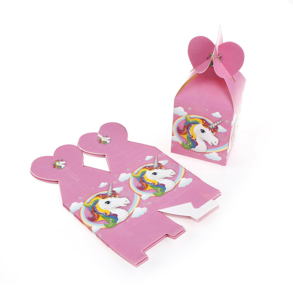 6x Unicorn Cartoon Paper Bags Baby Shower Gift Candy Boxs Birthday ...