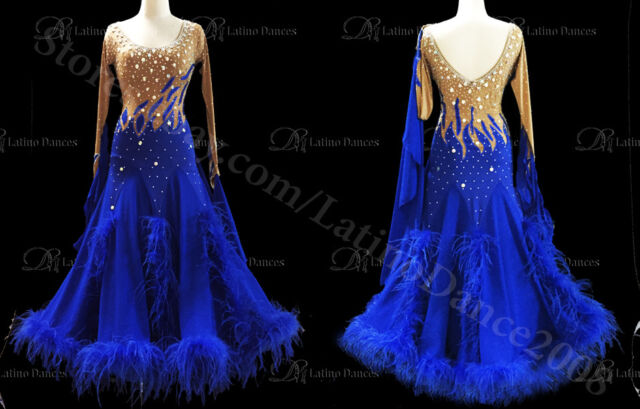 Feather Ballroom / Standard Waltz Dance Dress With High Quality stones ST58A