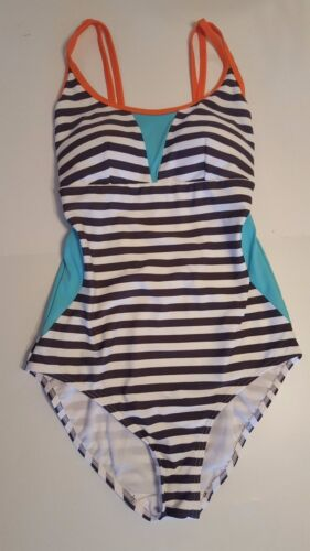 EX-MATALAN  STRIPE SWIMSUIT COSTUME WITH TUMMY CONTROL sizes 8-20 BNWOT