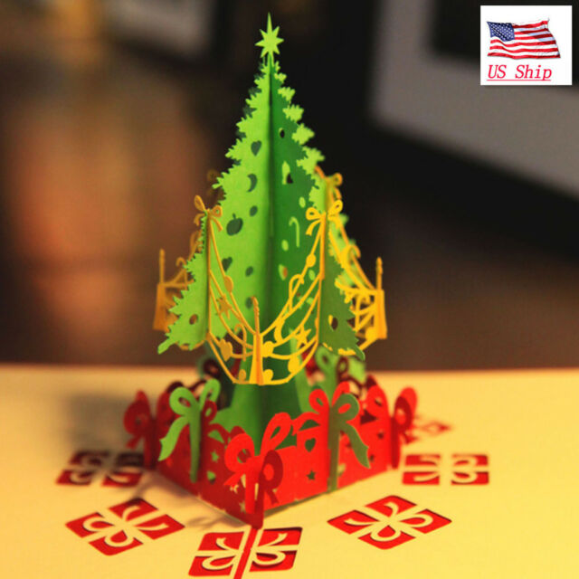 US 3D Pop Up Paper Card Christmas Tree Xmas Greeting Holiday Birthday Gift