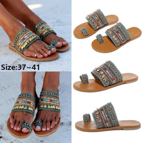 UK Women Bohemian Slip On Flat Sliders Ladies Summer Flip Flops Slippers Sandals
