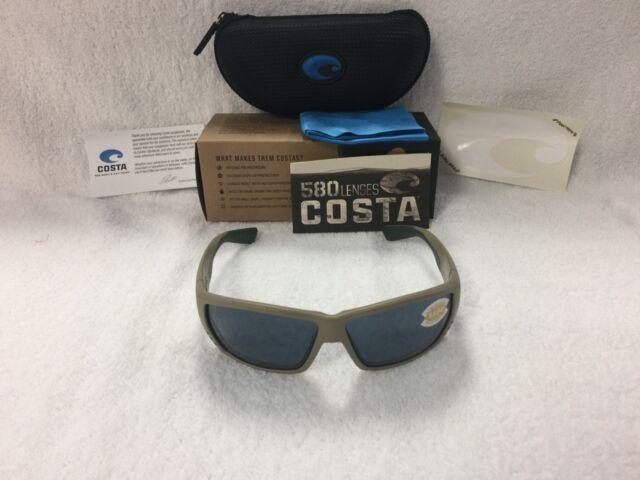 514106a533 NEW Costa Del Mar Tuna Alley Polarized Sunglasses Sand Gray TA 248 OGP 580p