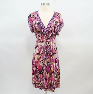 Halebob-Faux-Wrap-Dress-Womens-100-Silk-Pink-Multicolor-Kimono-Sleeve-M-Medium