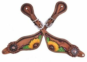 Showman Hand Painted Sunflower and Cactus Wither Strap FREE SHIPPING! NEW