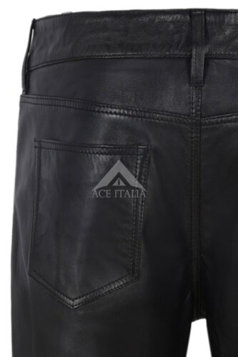Ladies Leather Pant Black Biker Jeans Style Sweat Track Pant Real Lambskin 4532