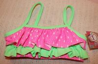Girls Ocean Pacific 2 Pc Bathing Suit Pink White Lime Green Ruffle Pageant