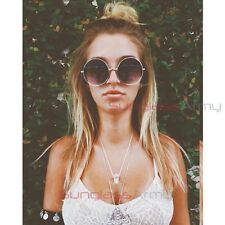 SILVER Oversized Round Sunglasses womens large huge big circle hippy lennon goth