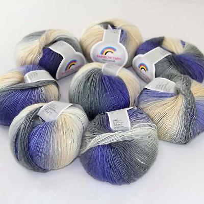 Hot 2Balls*50g Soft Cashmere Wool Rainbow Wrap Shawl DIY Hand Knitwear Yarn 15