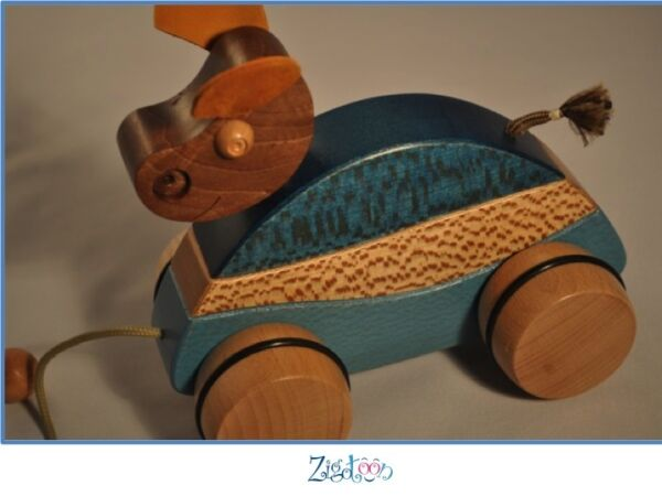Green Baby Pull Toy Cow In Wood, Birth Gift Made In France - New