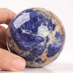 489g 71mm Large Natural Blue Sodalite Crystal Sphere Healing Ball Chakra