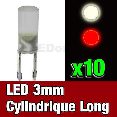Roco Jouef 713//10# LED cylindrique 3mm bicouleur rouge  blanc chaud 10pcs