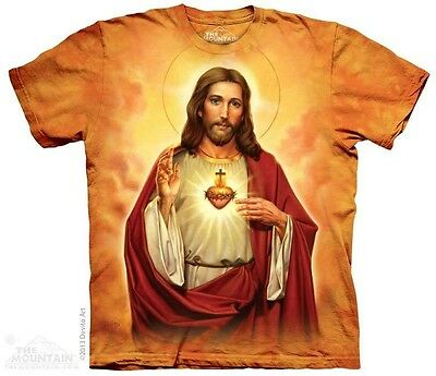 THE MOUNTAIN SACRED HEART JESUS CHRISTIAN SPIRITUAL CATHOLIC T TEE SHIRT S-5XL