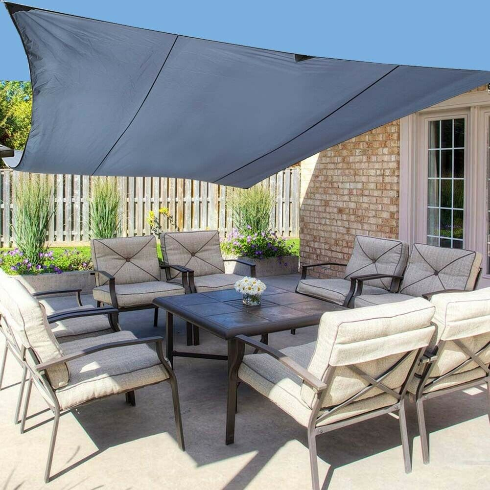 Grey Waterproof Sun Shade Sail Garden Patio Awning Canopy ...