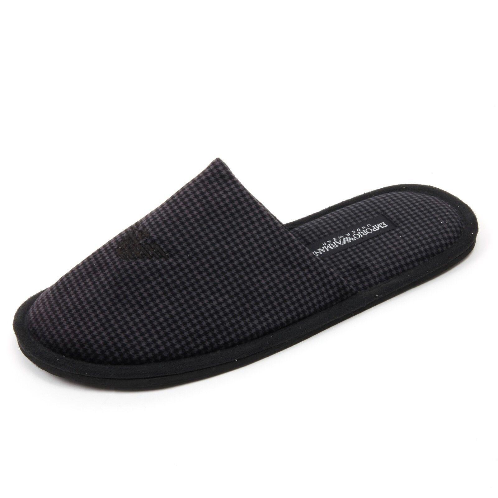 C1890 pantofola nero/grigio da casa uomo EMPORIO ARMANI nero/grigio pantofola slipper shoe man 3174ca