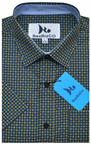 Mens Short Sleeve Shirt Polka Dot Stripe Diamond Polycotton M XXL by Beebizco