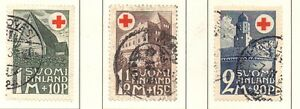 Finland-Sc-B5-7-1931-Red-Cross-Buildings-stamp-set-used-Free-Shipping