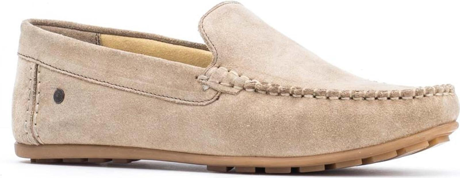 Base London HENTON Mens Leather Casual Slip On Moccasin Loafers schuhe Taupe