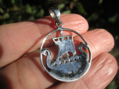 925 silver Norse viking ship boat pendant necklace Thailand jewelry art A14