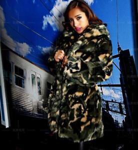 ample hiver fourrure pour femmes en capuche à fausse de camouflage chaud Manteau clubwear wxHvqn710