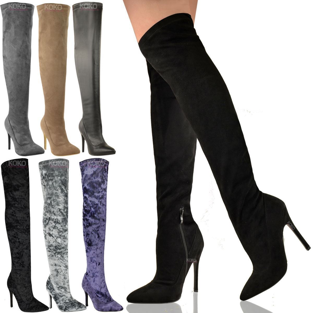 WOMENS LADIES THIGH HIGH STILETTOS HEELS OVER THE KNEE BOOTS SEXY PARTY SIZE