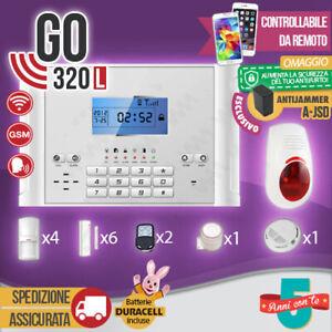 KIT ANTIFURTO CASA ALLARME COMBINATORE GSM / APP WIRELESS GO320L ANTI JAMMER