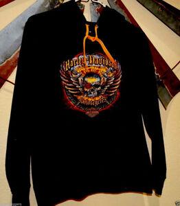 13566/ Womens Harley Davidson HOODIE Sweatshirt ~ M Medium / Skull ~ El Paso Tx