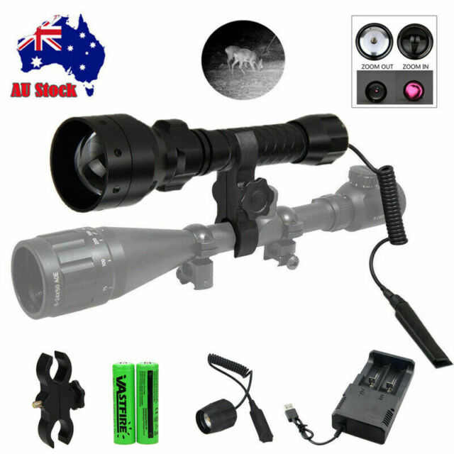LED Zoomable Hunting Light Infrared IR 850nm T50mm Night Vision Torch Gun Mount